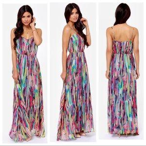 Multi Colored Spaghetti Strap Maxi Dress
